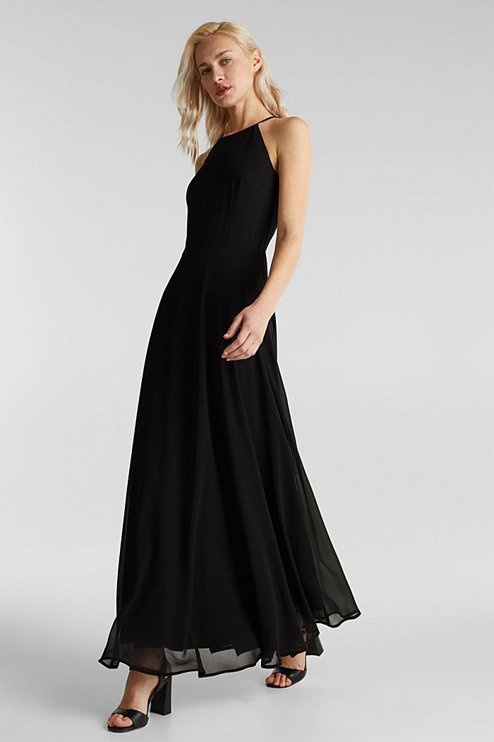 Recycled: dress with lace back, BLACK, detail image number 0