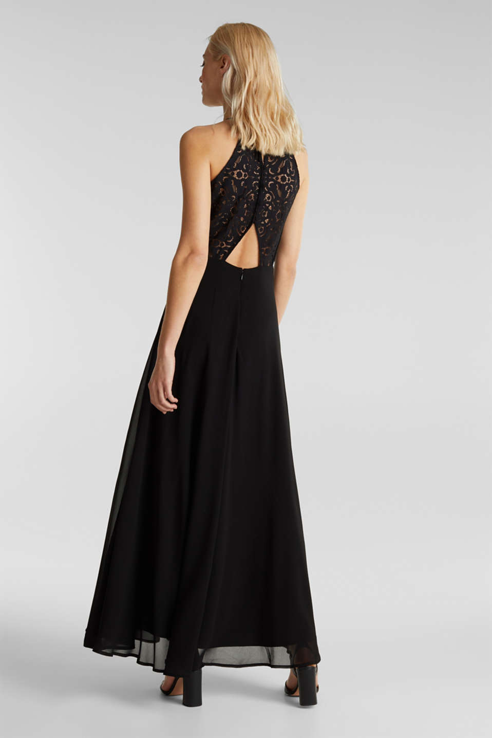Recycled: dress with lace back, BLACK, detail image number 2
