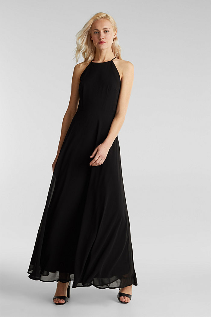 Recycled: dress with lace back, BLACK, detail image number 1