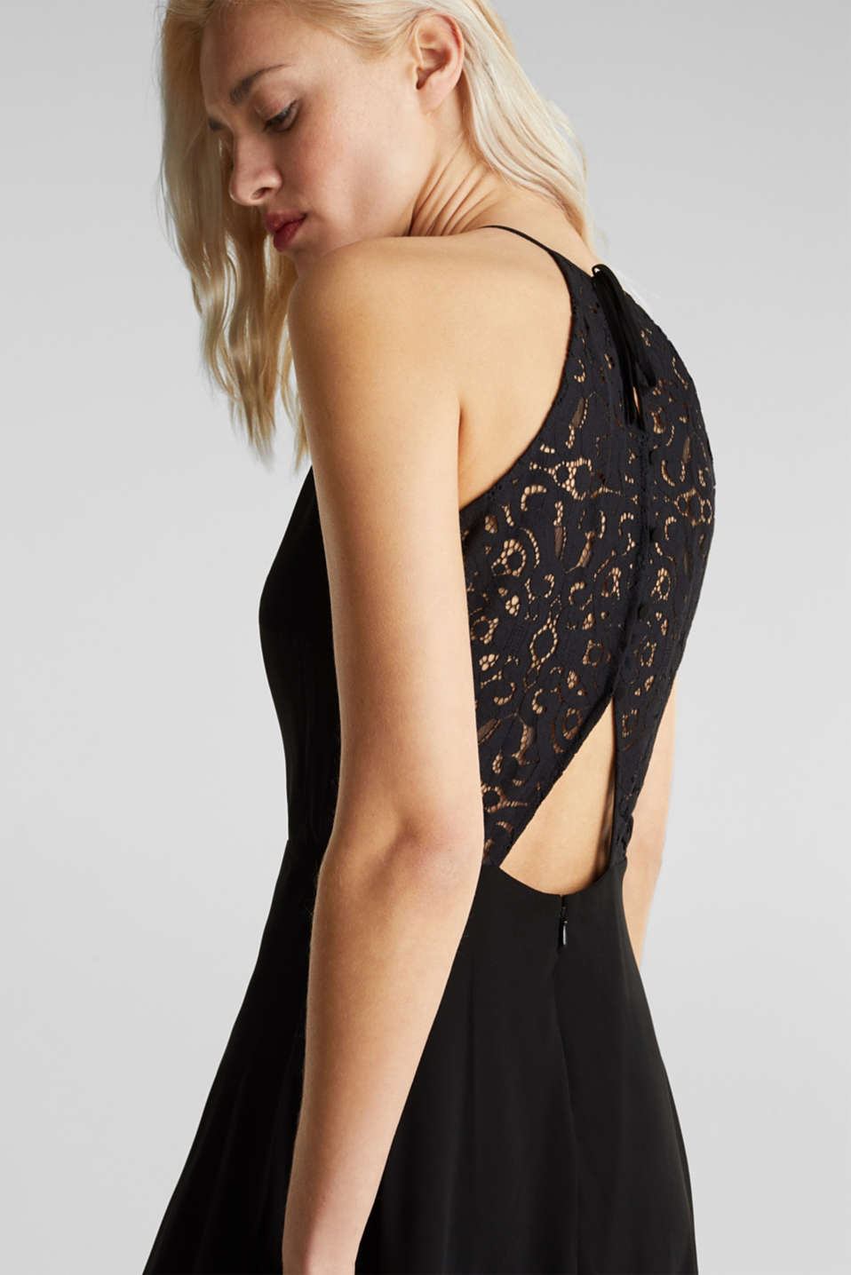 Recycled: dress with lace back, BLACK, detail image number 4