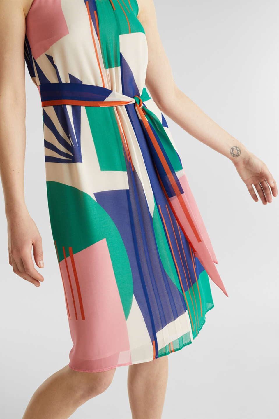 Recycled: Dress with a graphic print, OFF WHITE 4, detail image number 3