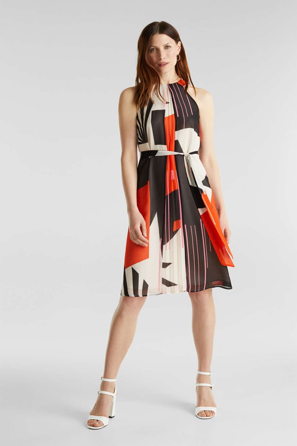 Recycled: Dress with a graphic print, RED ORANGE 4, detail image number 0