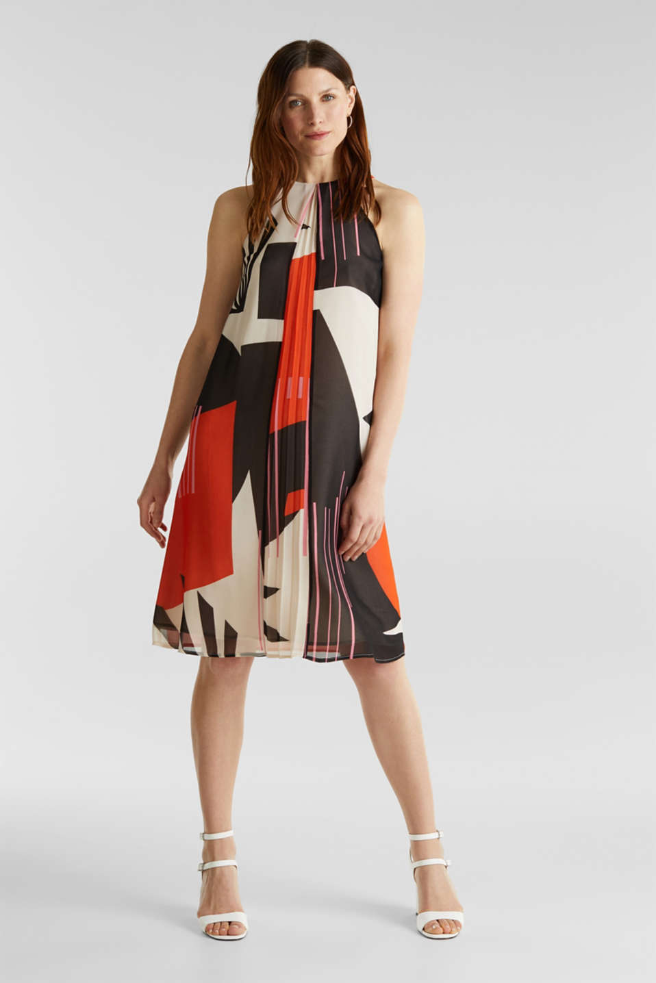 Recycled: Dress with a graphic print, RED ORANGE 4, detail image number 4