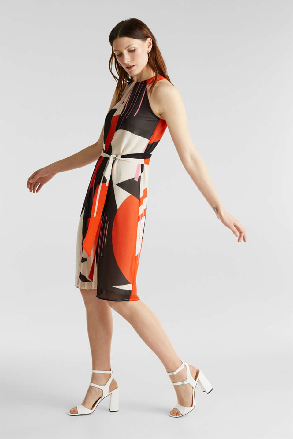 Recycled: Dress with a graphic print, RED ORANGE 4, detail image number 1