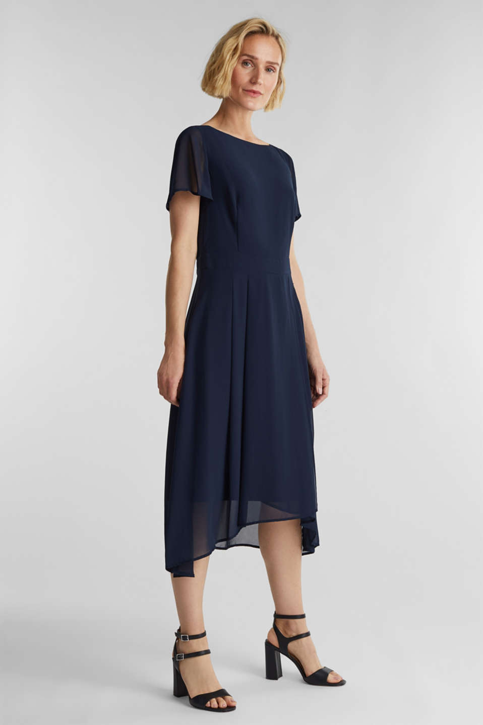 Midi dress in crêpe chiffon, NAVY, detail image number 0