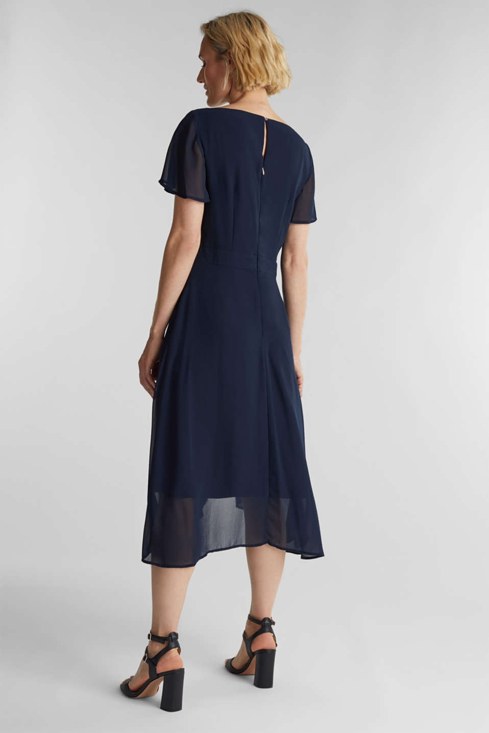 Midi dress in crêpe chiffon, NAVY, detail image number 2