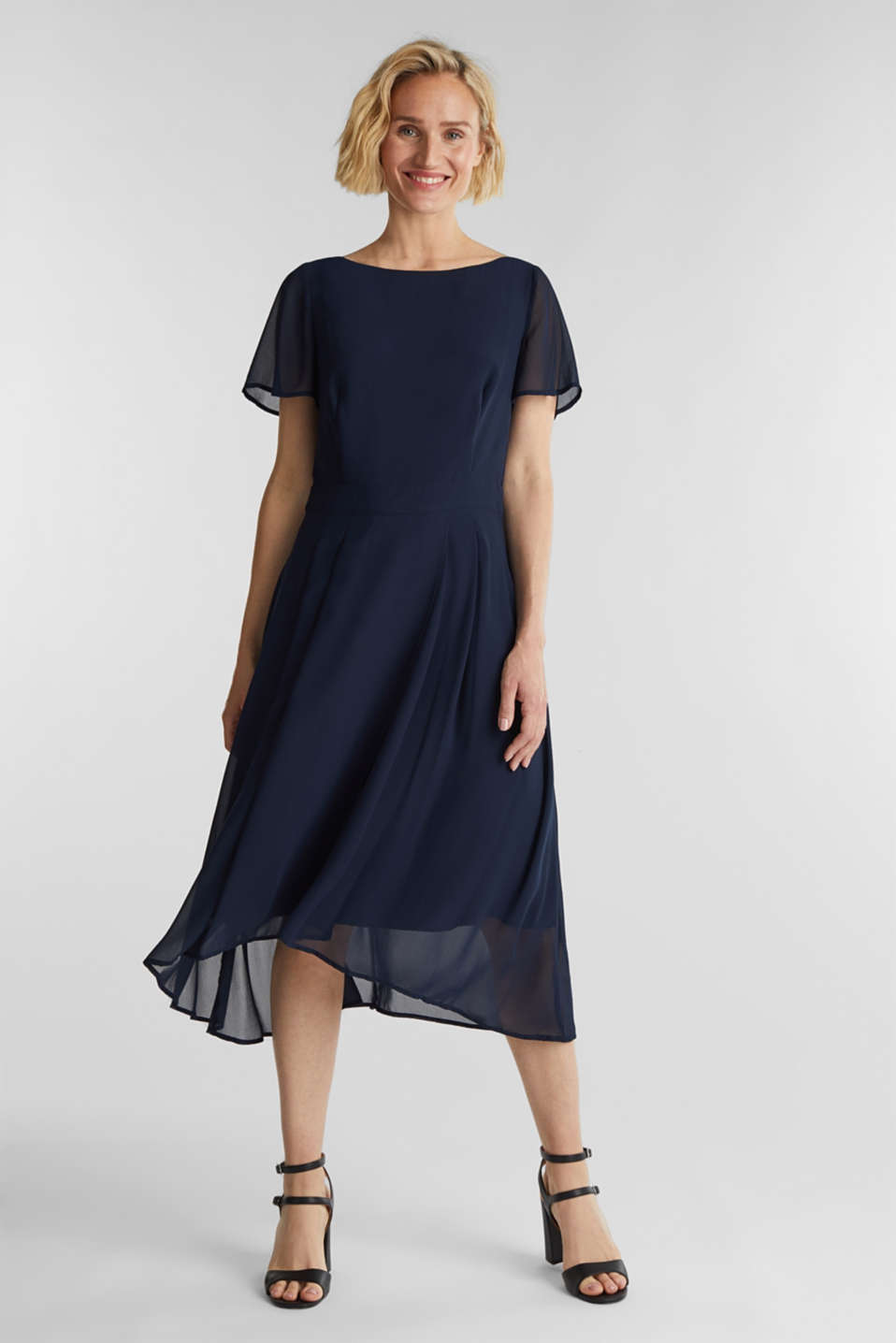 Midi dress in crêpe chiffon, NAVY, detail image number 1