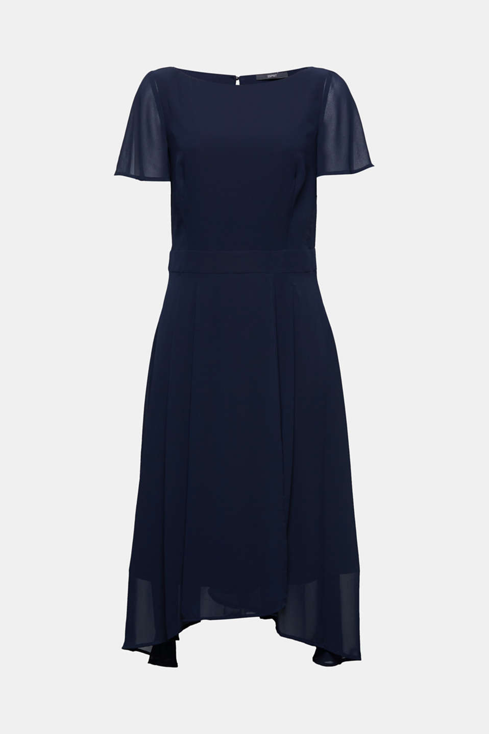Midi dress in crêpe chiffon, NAVY, detail image number 5