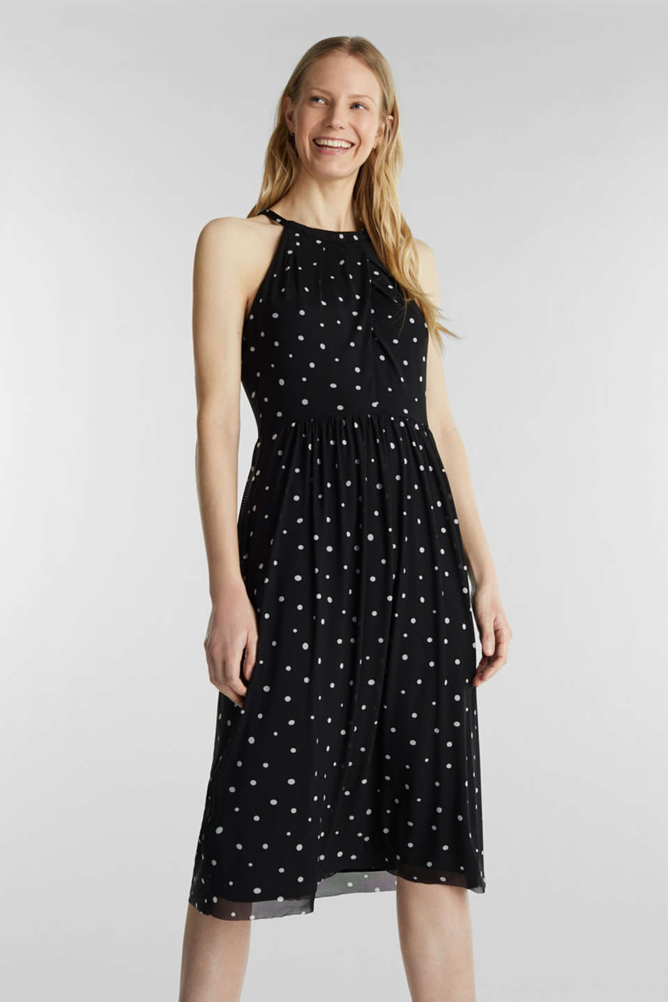 Mesh dress with an all-over print, BLACK 3, detail image number 0