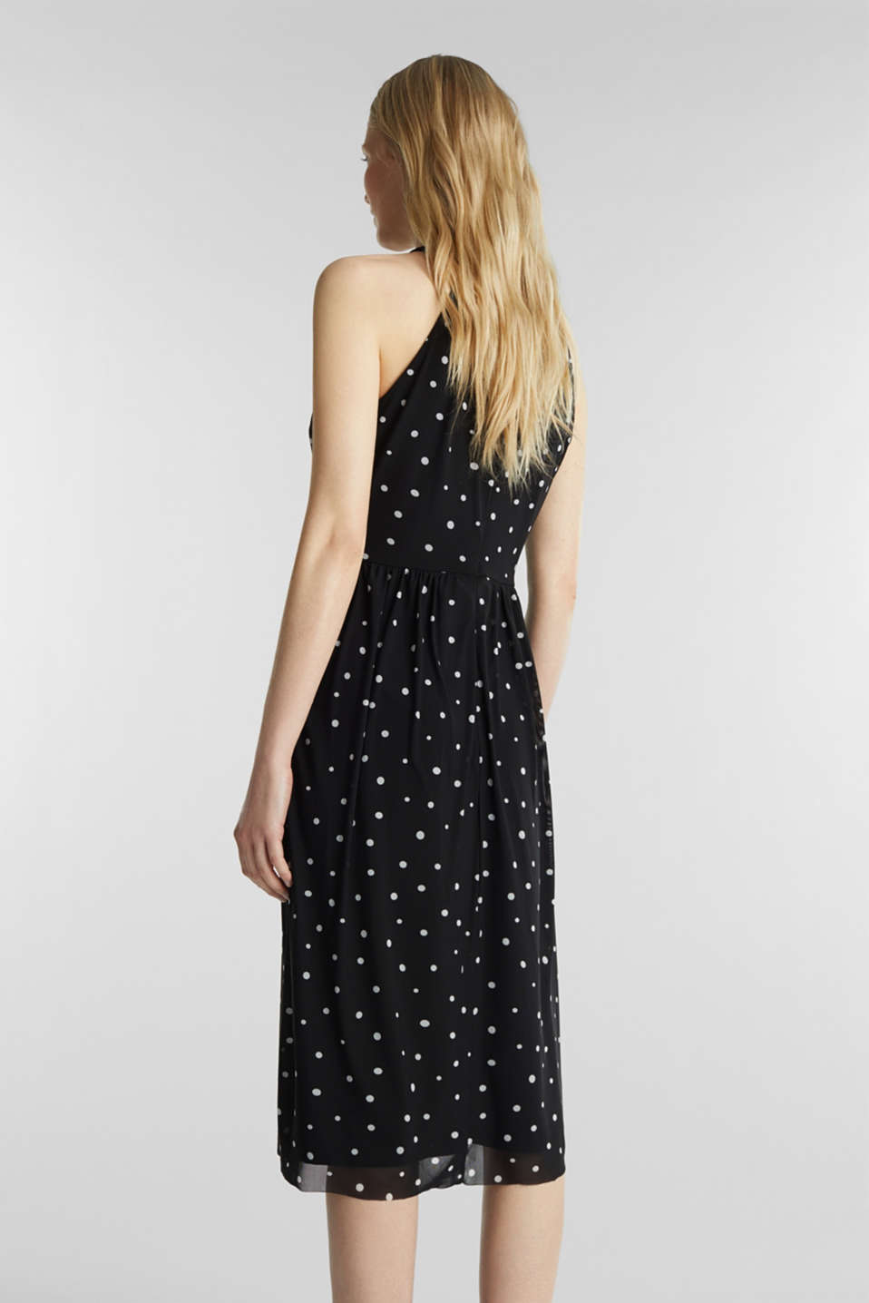 Mesh dress with an all-over print, BLACK 3, detail image number 2