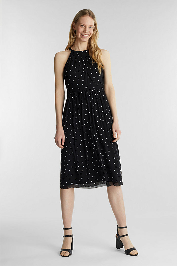 Mesh dress with an all-over print, BLACK, detail image number 1
