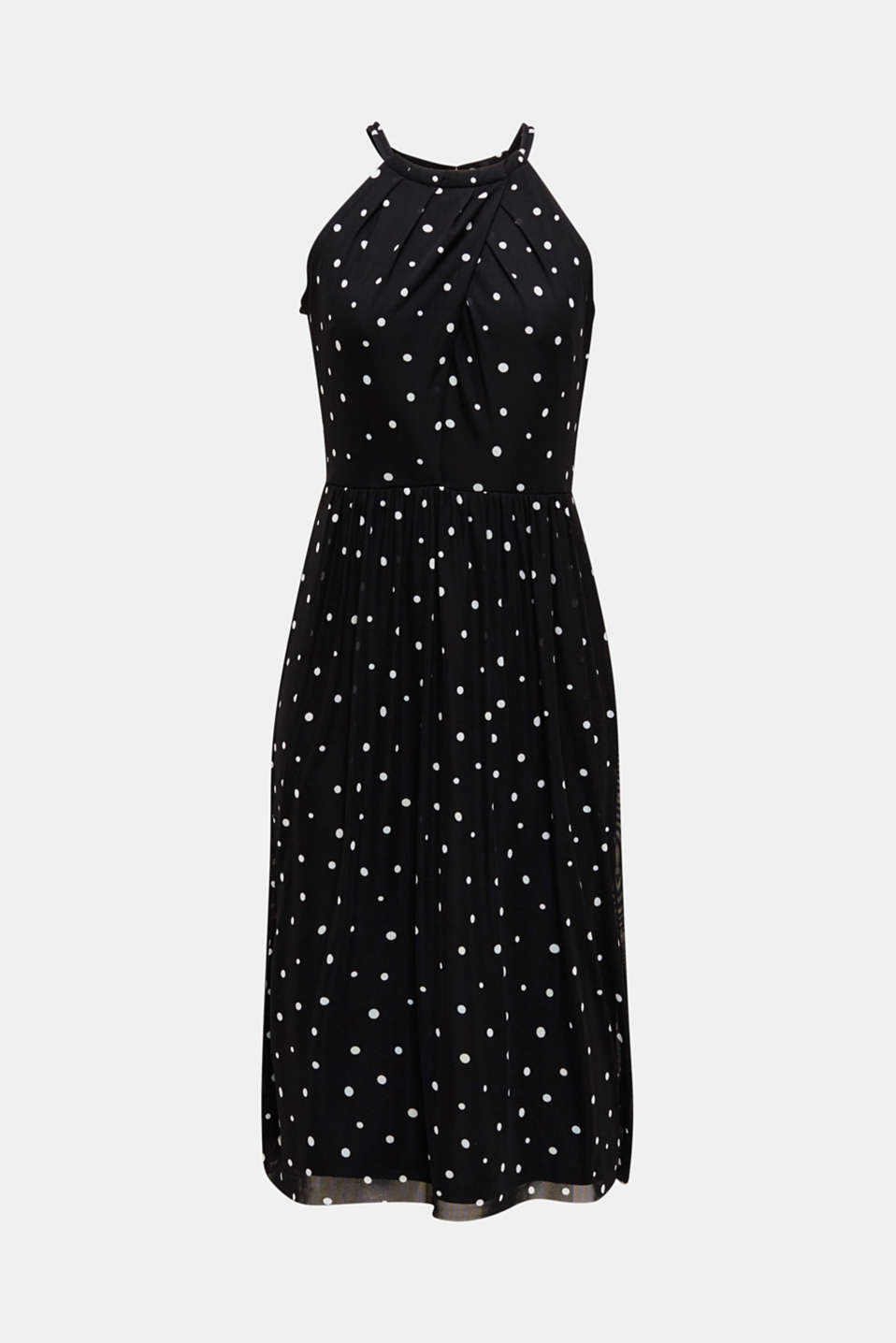 Mesh dress with an all-over print, BLACK 3, detail image number 6