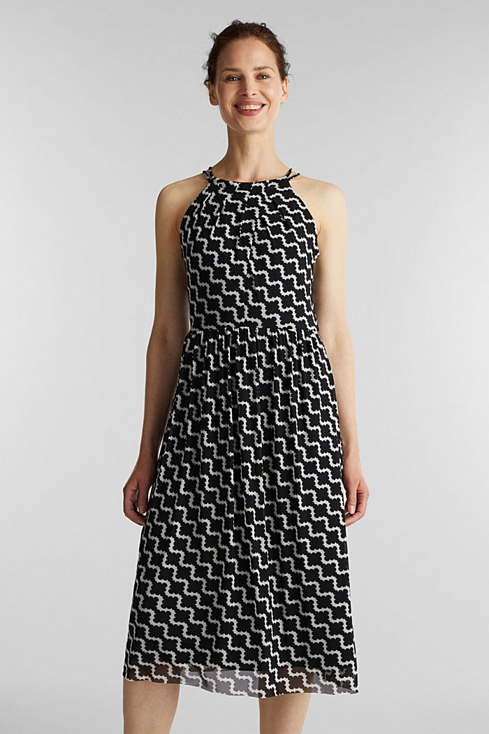 Mesh dress with an all-over print, OFF WHITE, detail image number 0