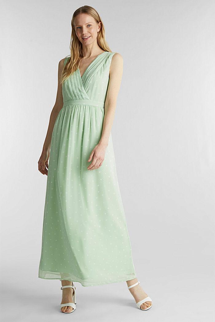 Chiffon jurk met wikkeleffect, PASTEL GREEN, detail image number 0