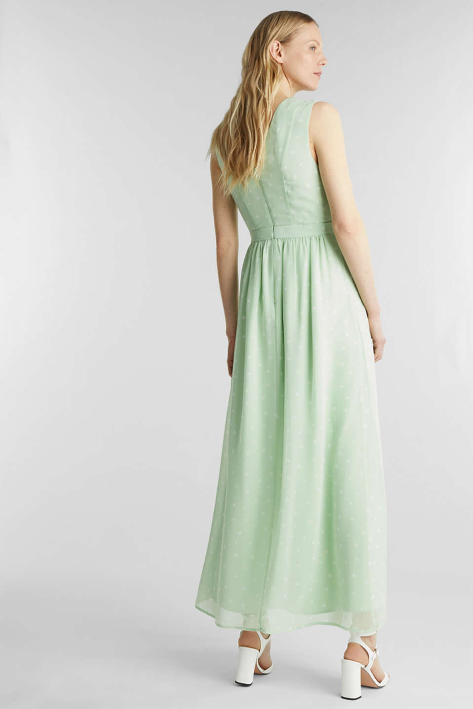Wrap-over effect chiffon dress, PASTEL GREEN 4, detail image number 2
