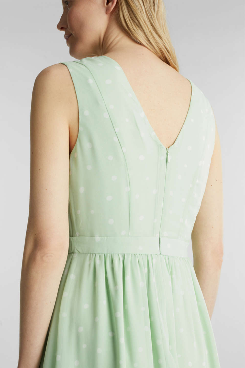 Wrap-over effect chiffon dress, PASTEL GREEN 4, detail image number 4