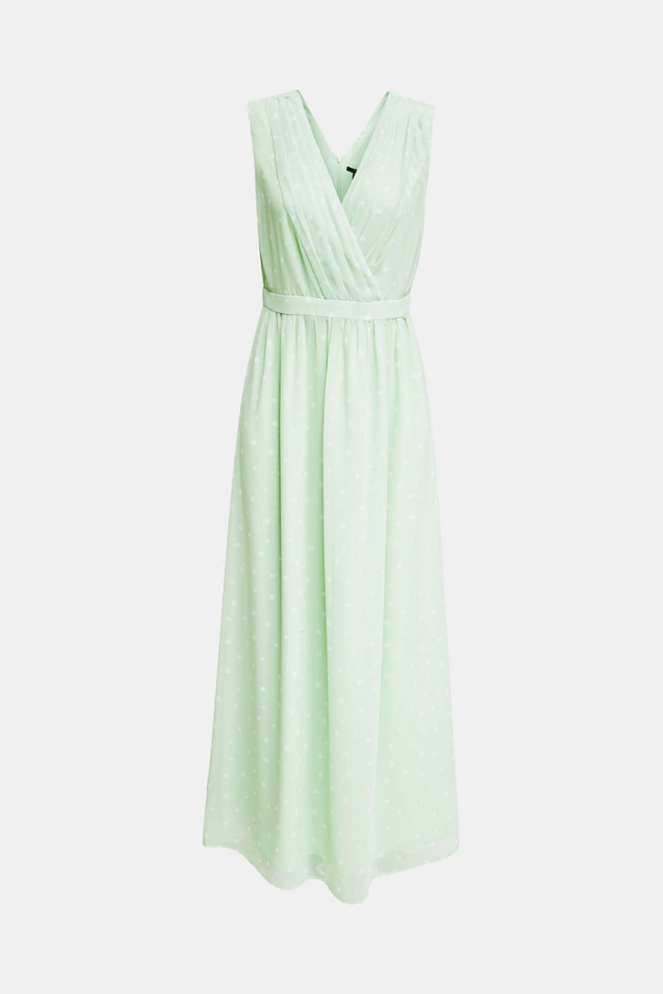 Wrap-over effect chiffon dress, PASTEL GREEN 4, detail image number 6