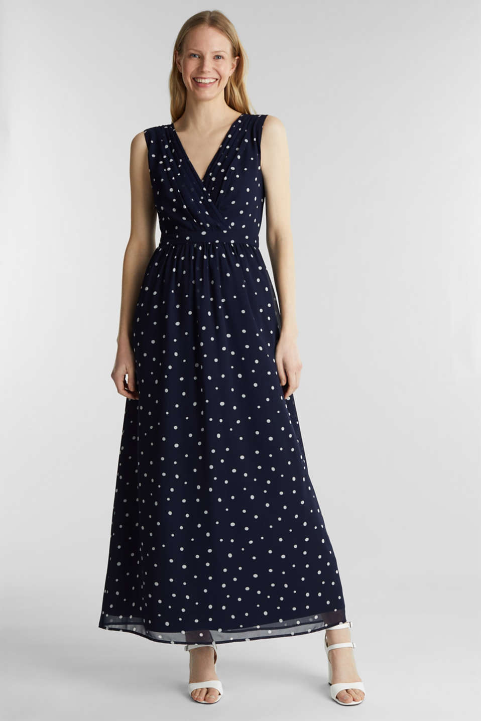 Wrap-over effect chiffon dress, NAVY 4, detail image number 0