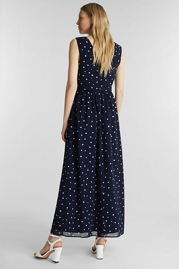 Wrap-over effect chiffon dress, NAVY, detail image number 2