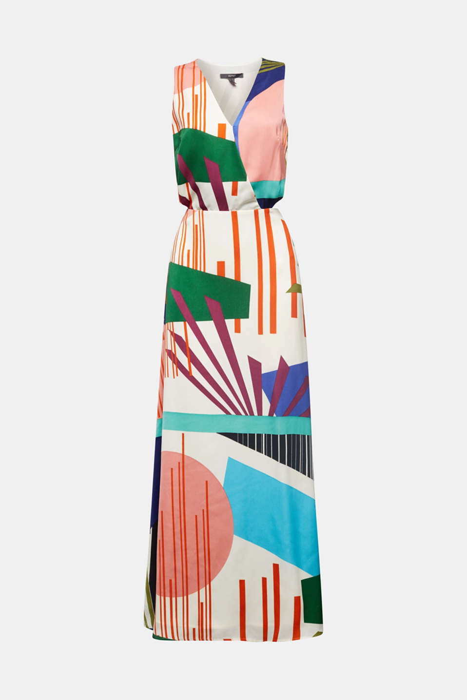 Satin maxi dress with a graphic print, OFF WHITE 4, detail image number 5