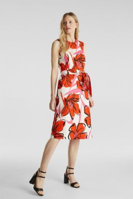 Blended linen: dress with XXL floral print, WHITE 4, detail