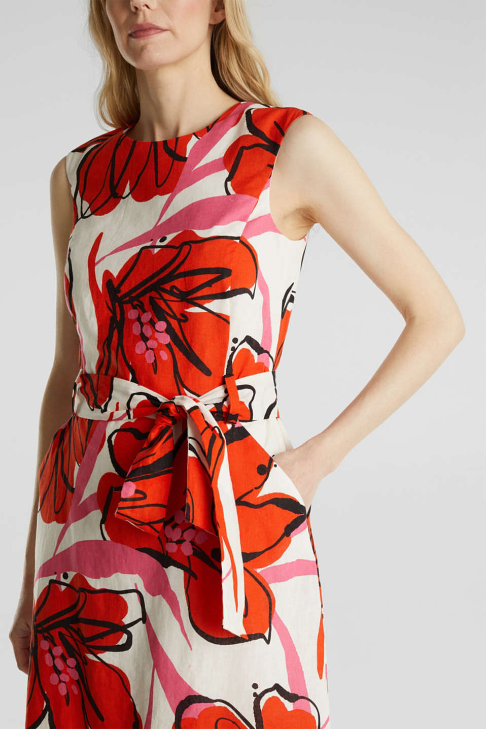 Blended linen: dress with XXL floral print, WHITE 4, detail image number 3