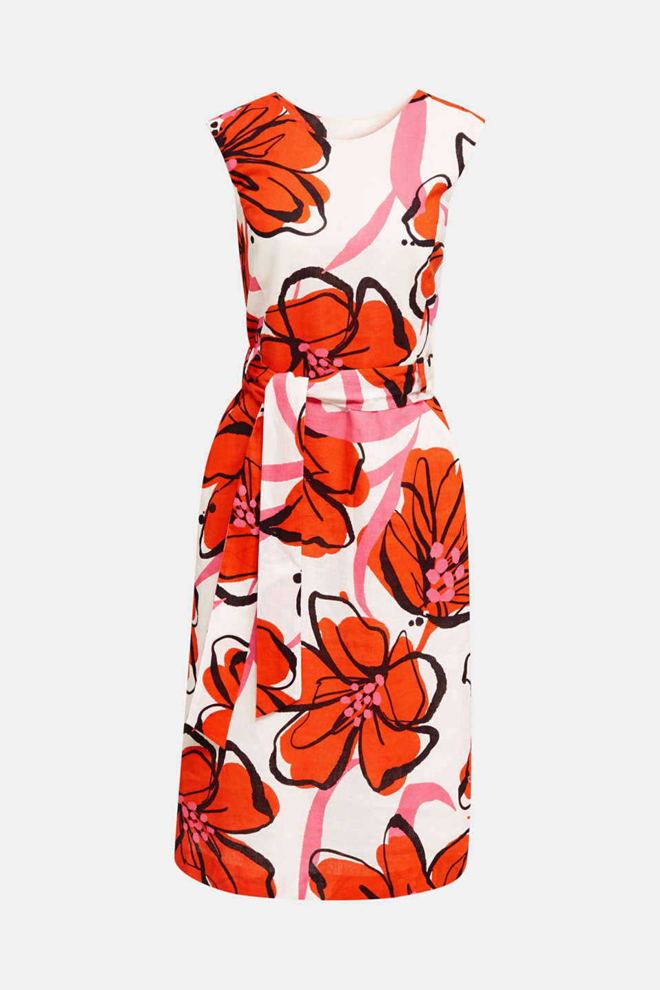 Blended linen: dress with XXL floral print, WHITE 4, detail image number 6