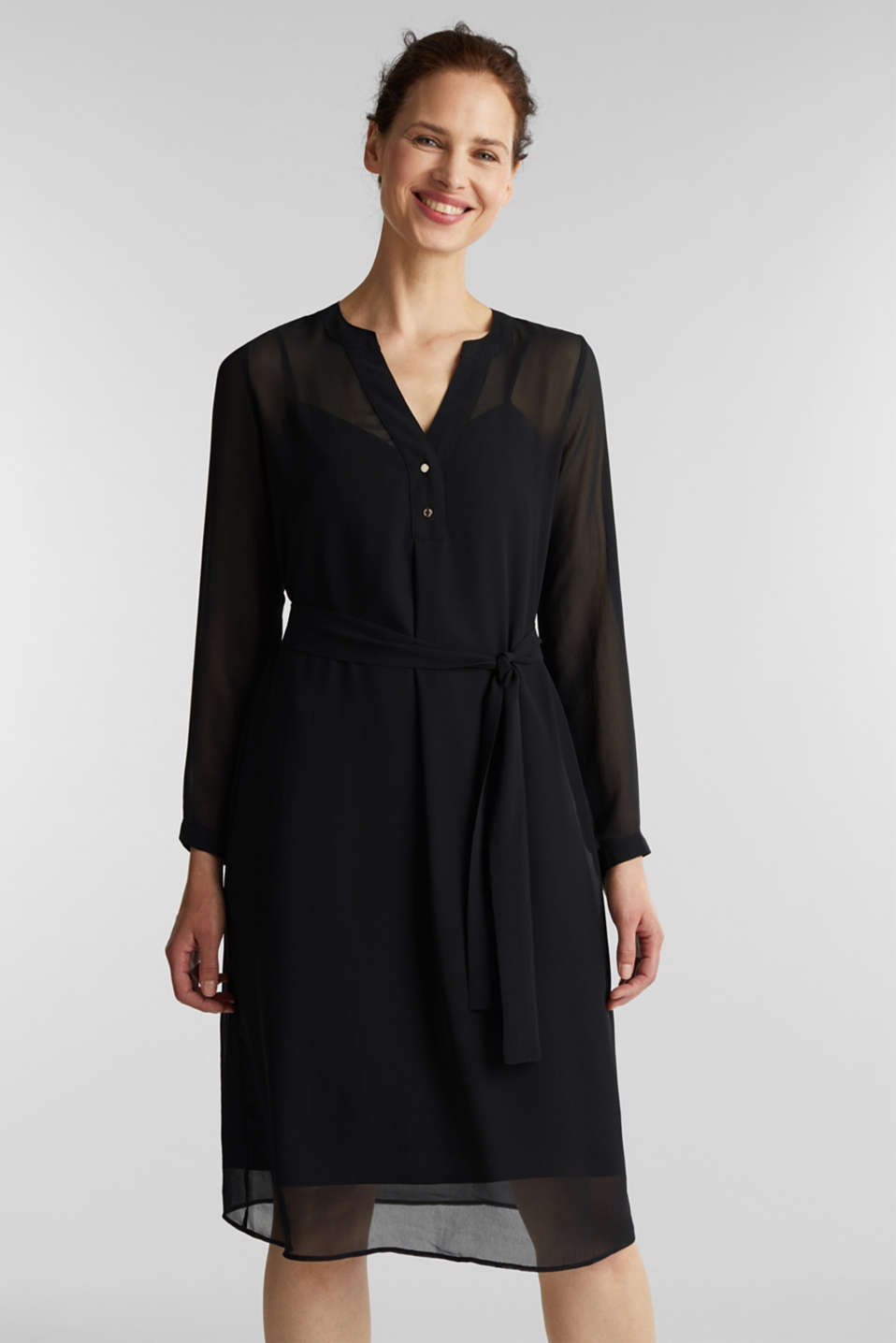 Chiffon shirt dress, BLACK, detail image number 0