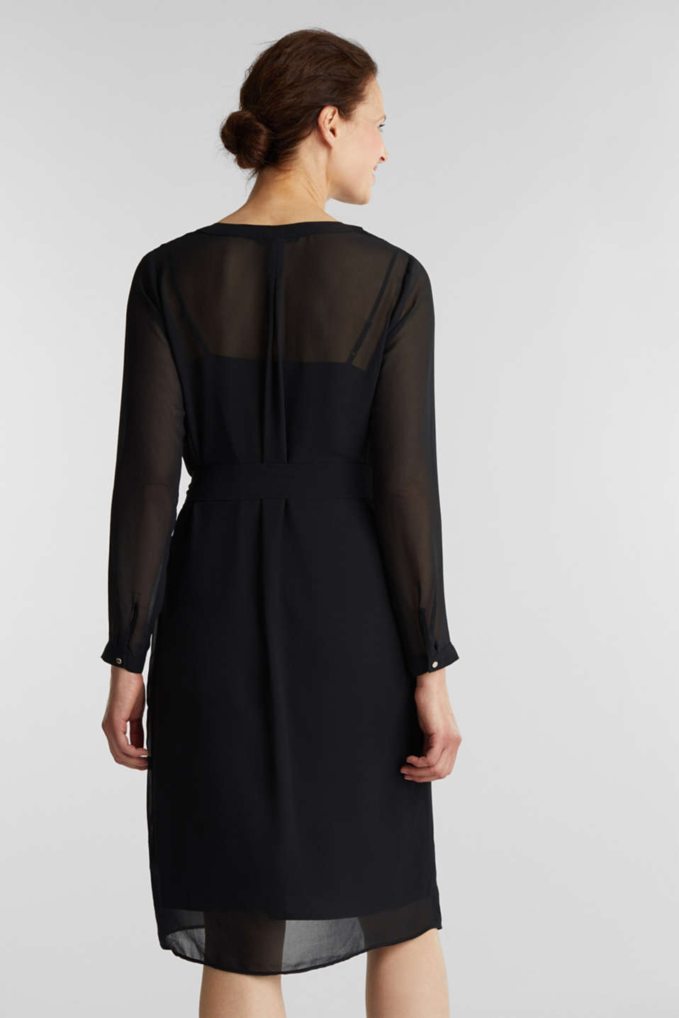 Chiffon shirt dress, BLACK, detail image number 2