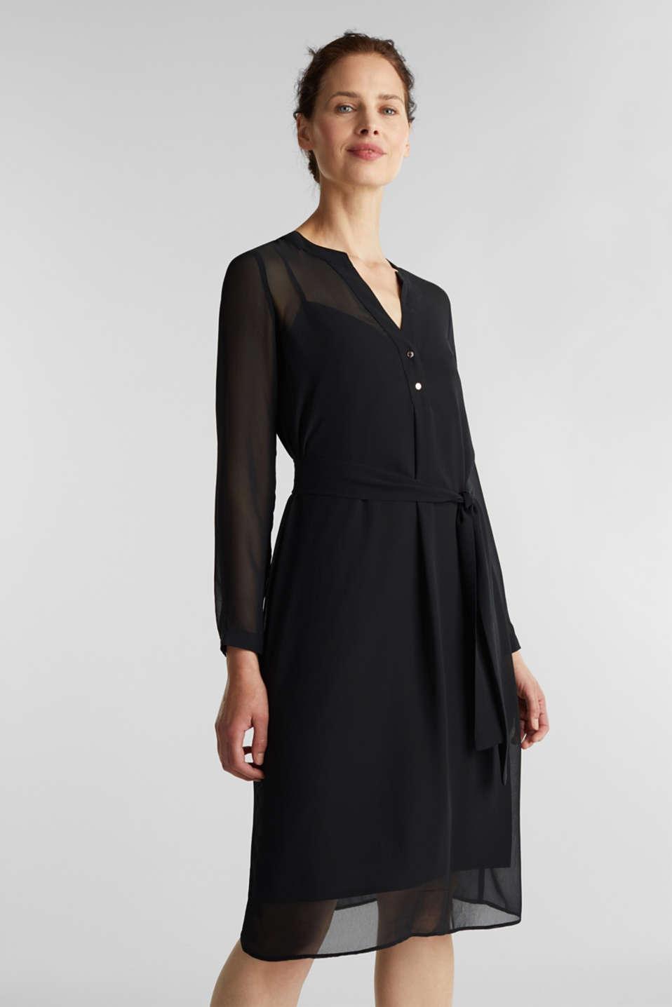 Chiffon shirt dress, BLACK, detail image number 4