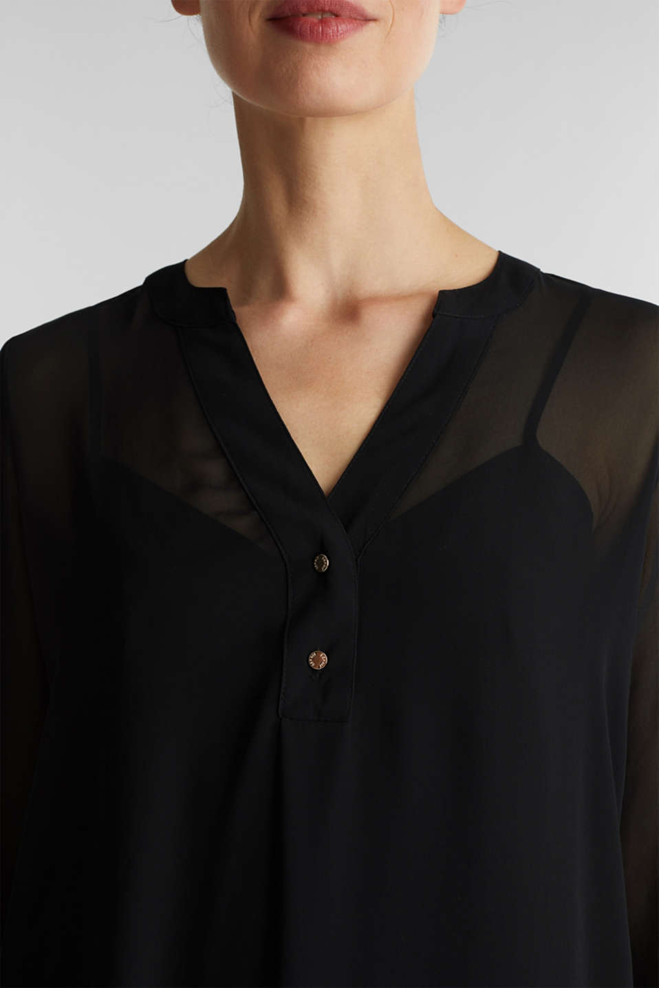 Chiffon shirt dress, BLACK, detail image number 3