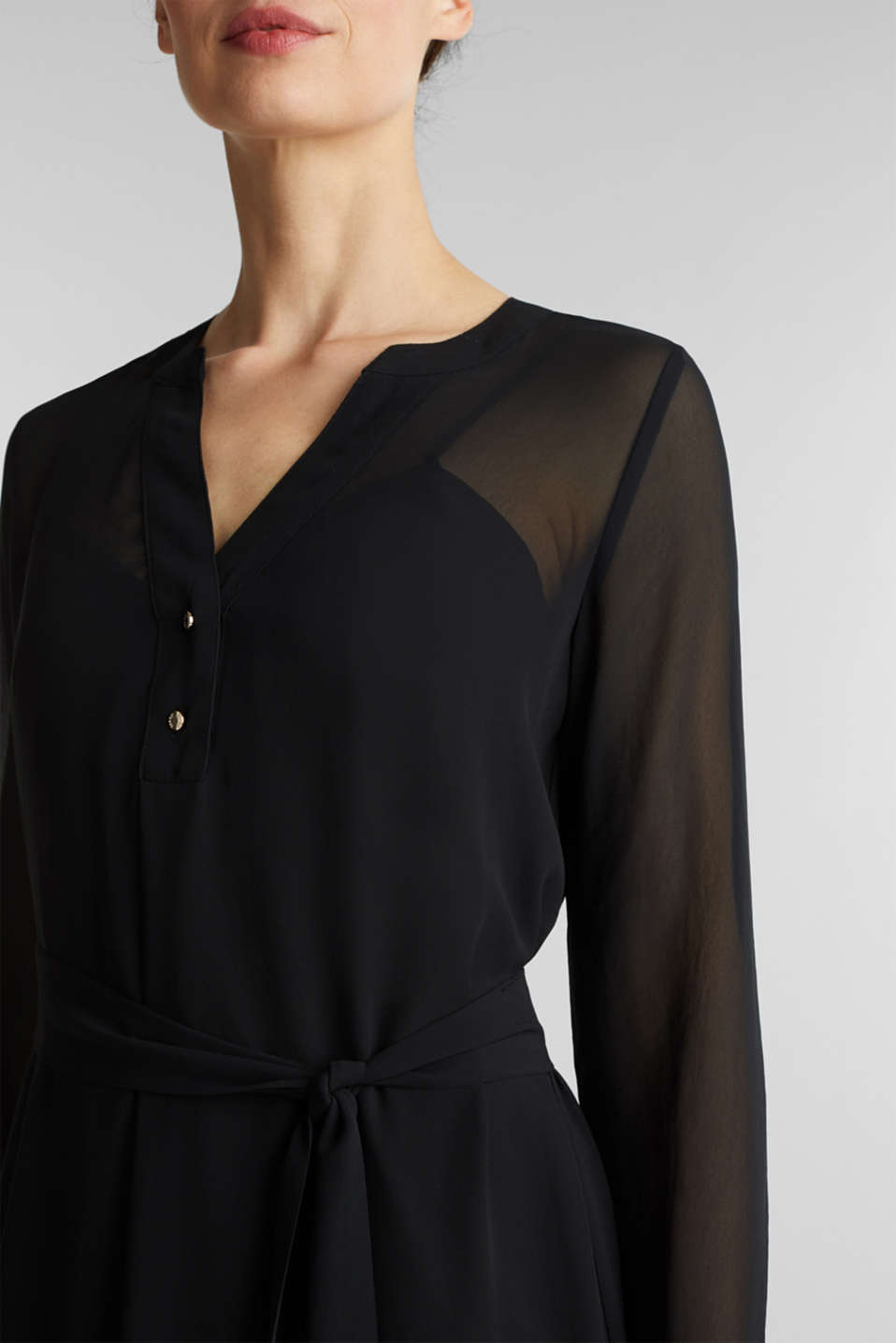 Chiffon shirt dress, BLACK, detail image number 5