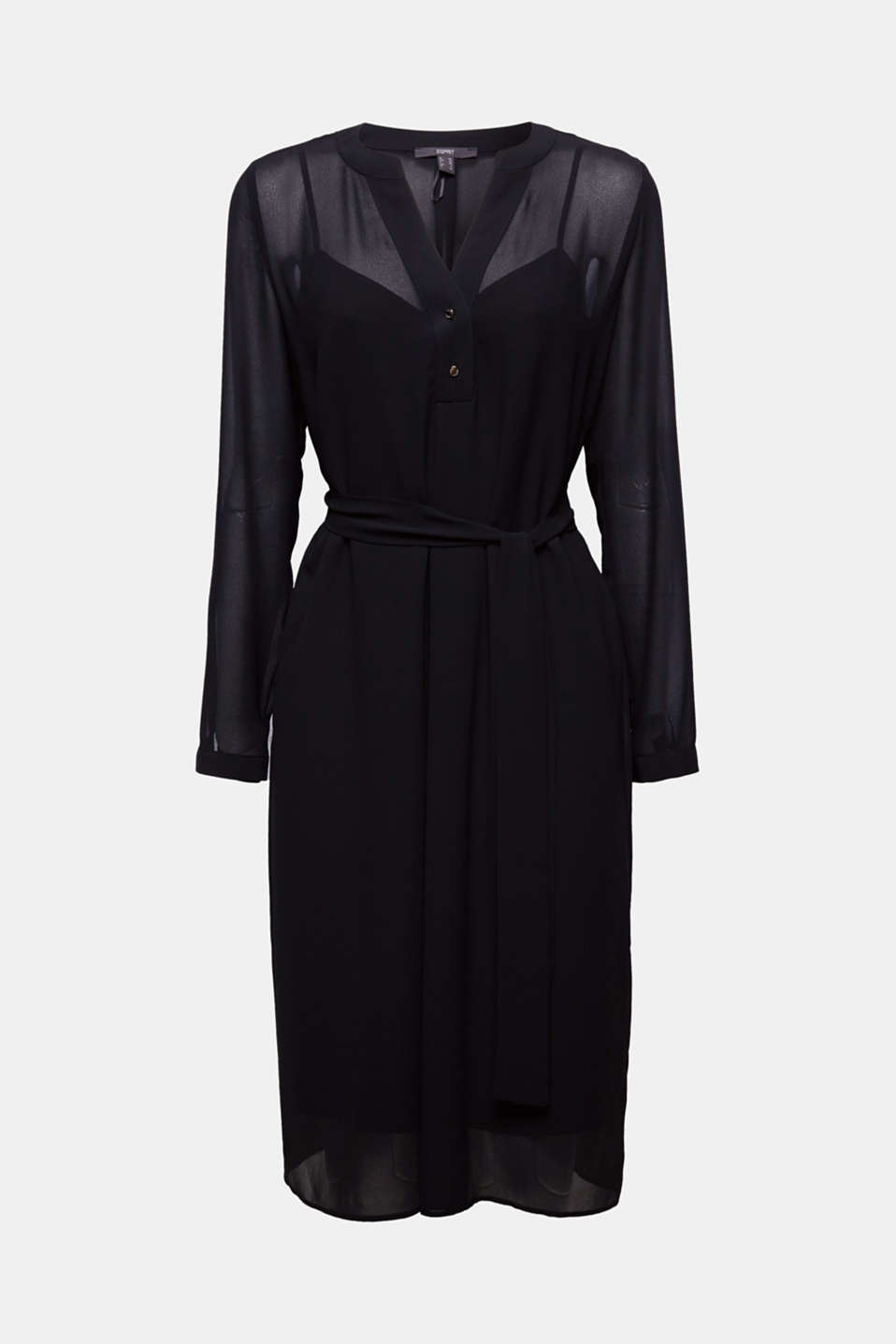 Chiffon shirt dress, BLACK, detail image number 7