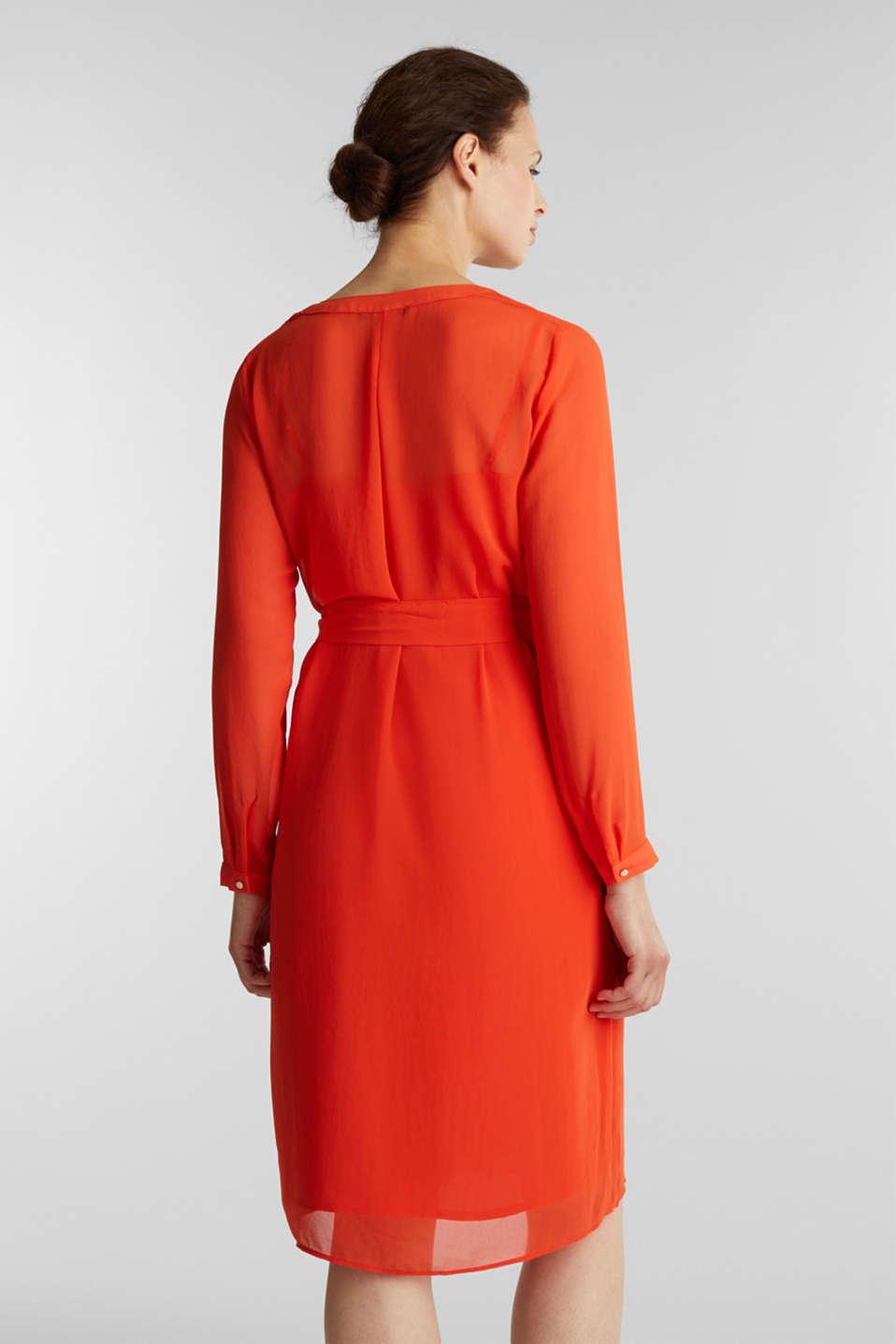 Chiffon shirt dress, RED ORANGE, detail image number 2