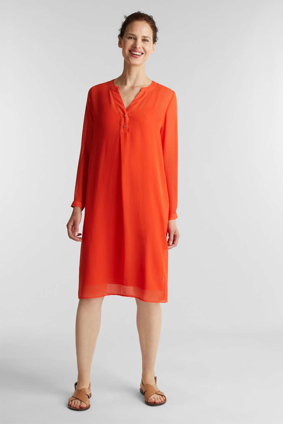 Chiffon shirt dress, RED ORANGE, detail image number 5