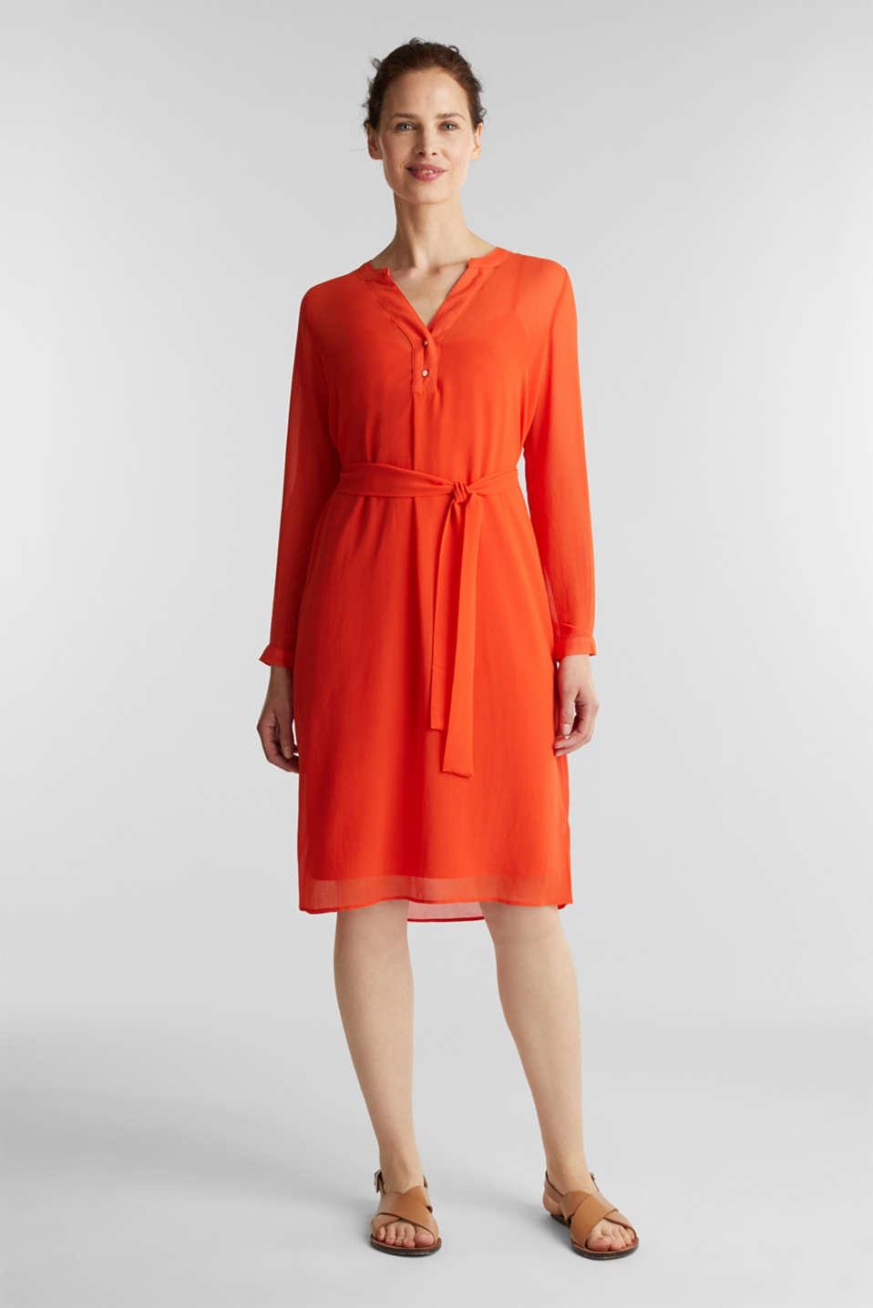 Chiffon shirt dress, RED ORANGE, detail image number 1