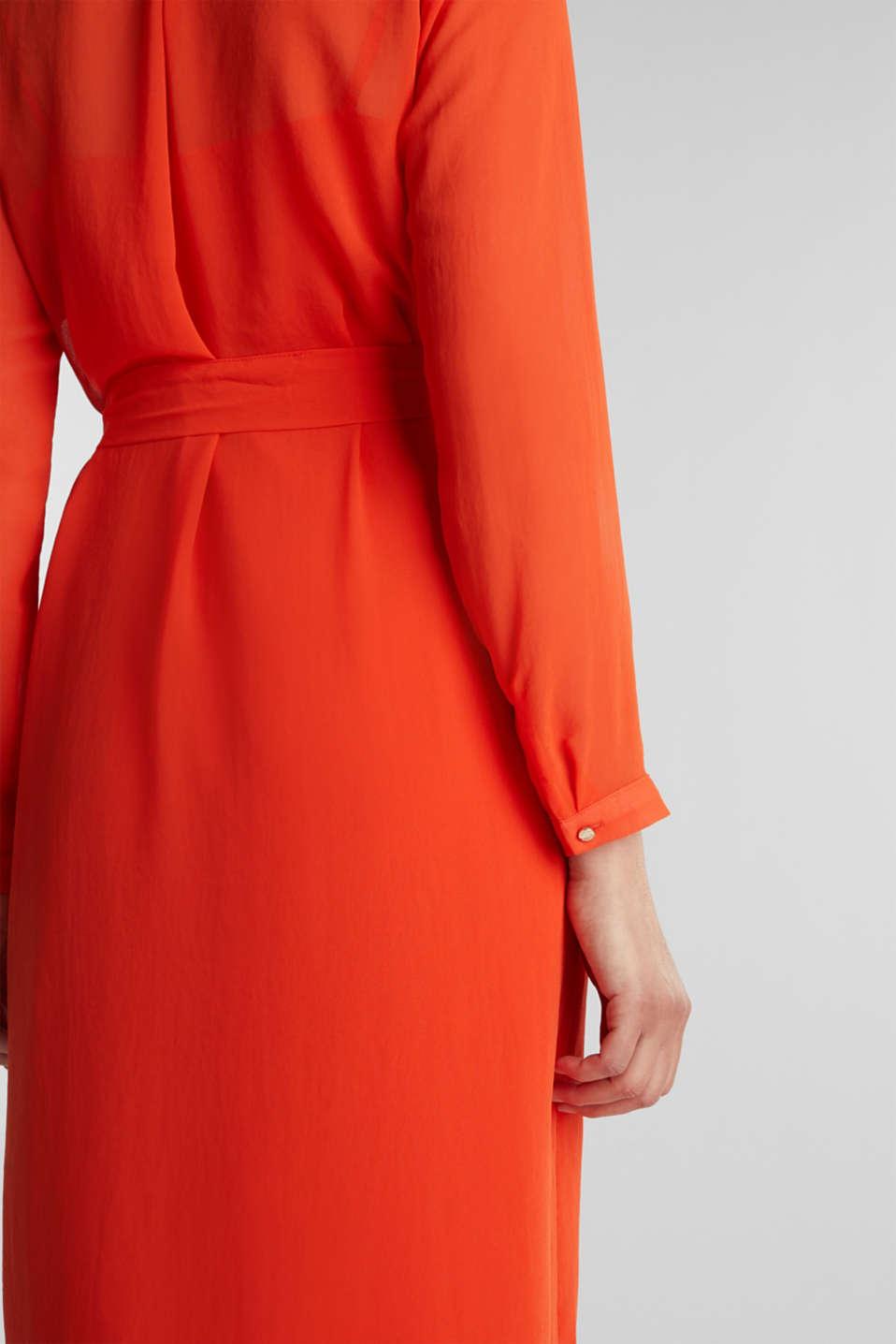 Chiffon shirt dress, RED ORANGE, detail image number 3