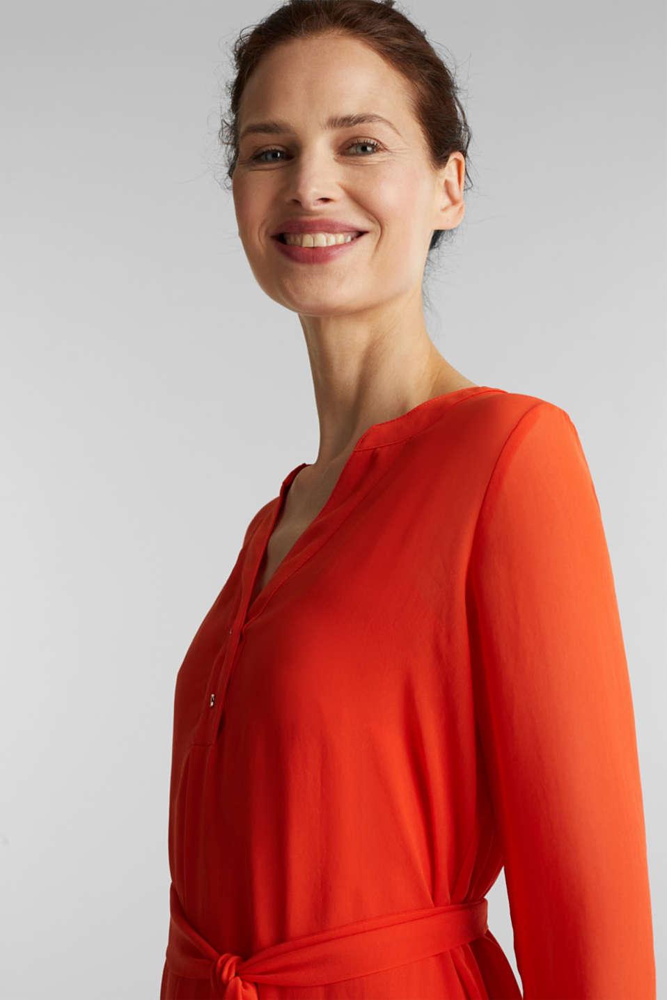 Chiffon shirt dress, RED ORANGE, detail image number 6