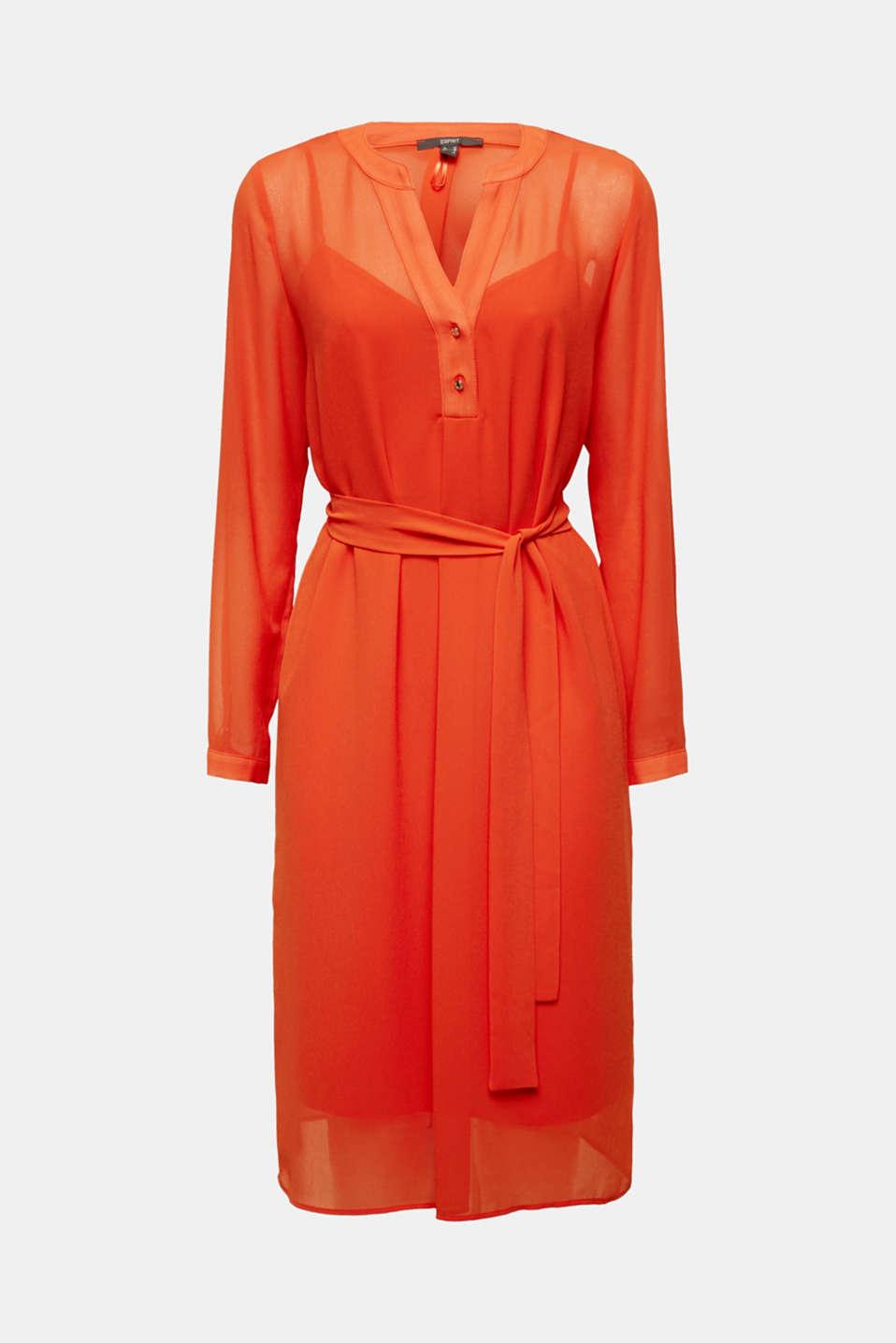 Chiffon shirt dress, RED ORANGE, detail image number 7