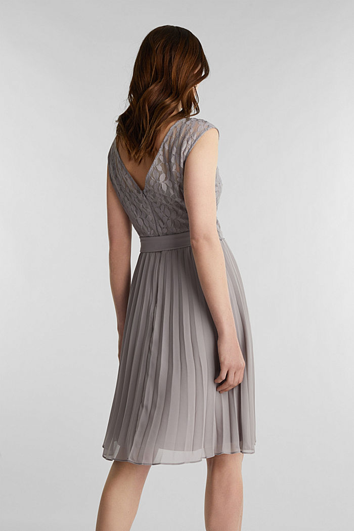 Recycled: pleated dress with lace, GREY, detail image number 2