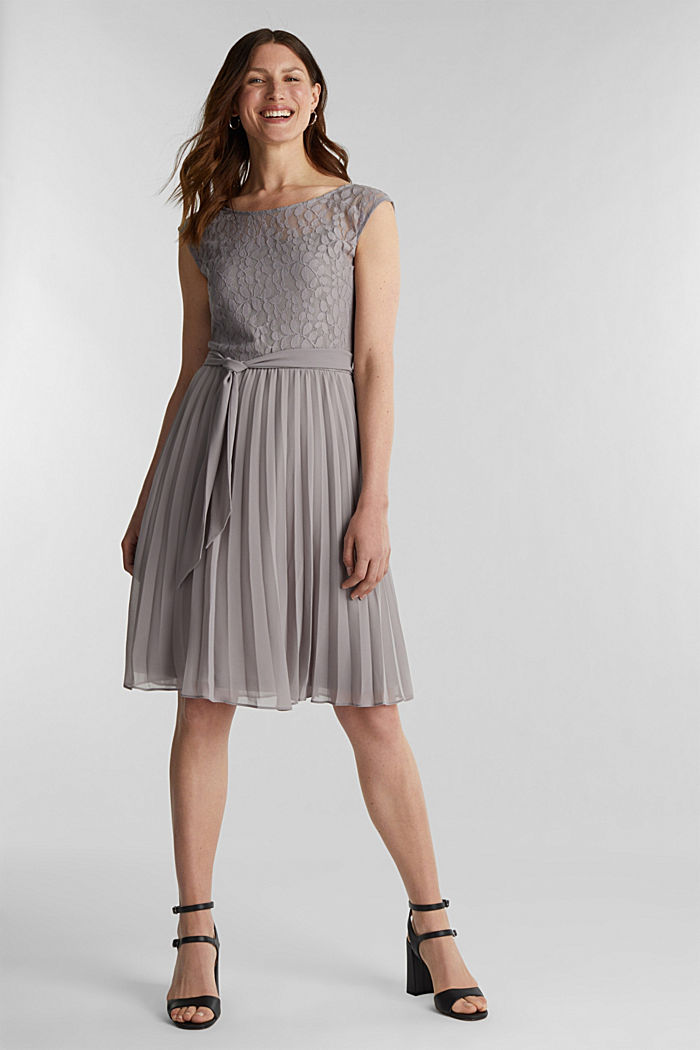 Recycled: pleated dress with lace, GREY, detail image number 1