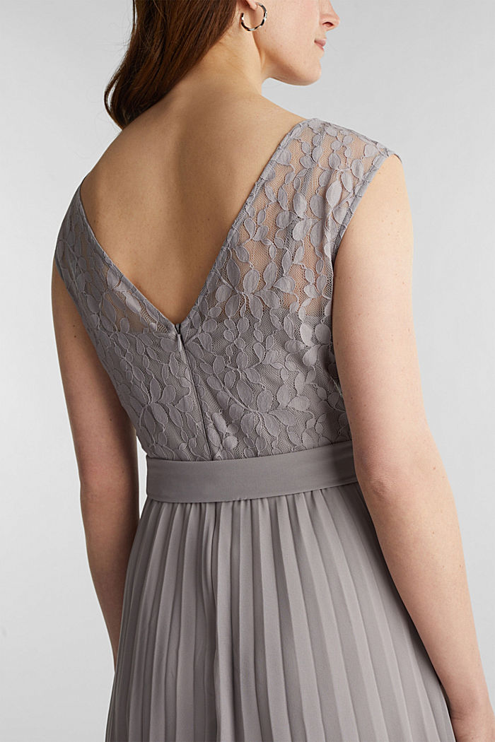Recycled: pleated dress with lace, GREY, detail image number 3