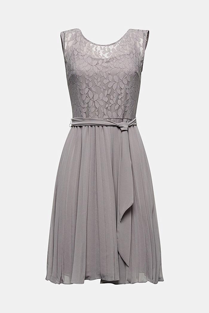 Recycelt: plissiertes Kleid mit Spitze