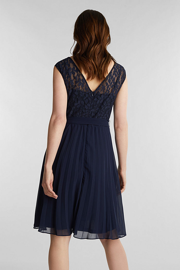 Recycled: pleated dress with lace, NAVY, detail image number 2