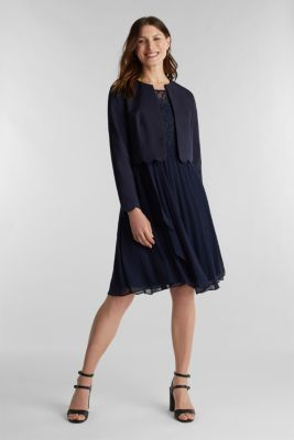 Recycled: pleated dress with lace, NAVY, detail