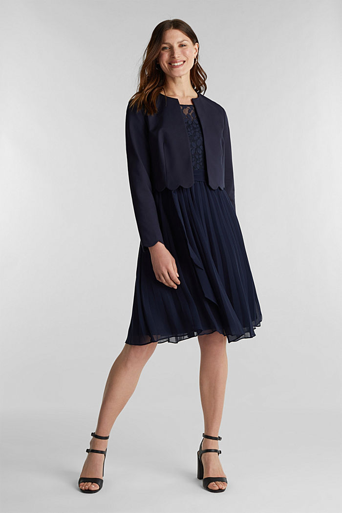 Recycled: pleated dress with lace, NAVY, detail image number 1