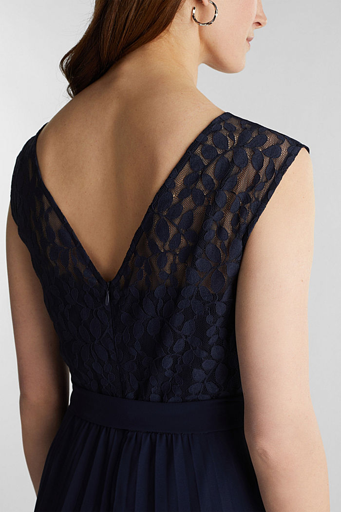 Recycled: pleated dress with lace, NAVY, detail image number 3