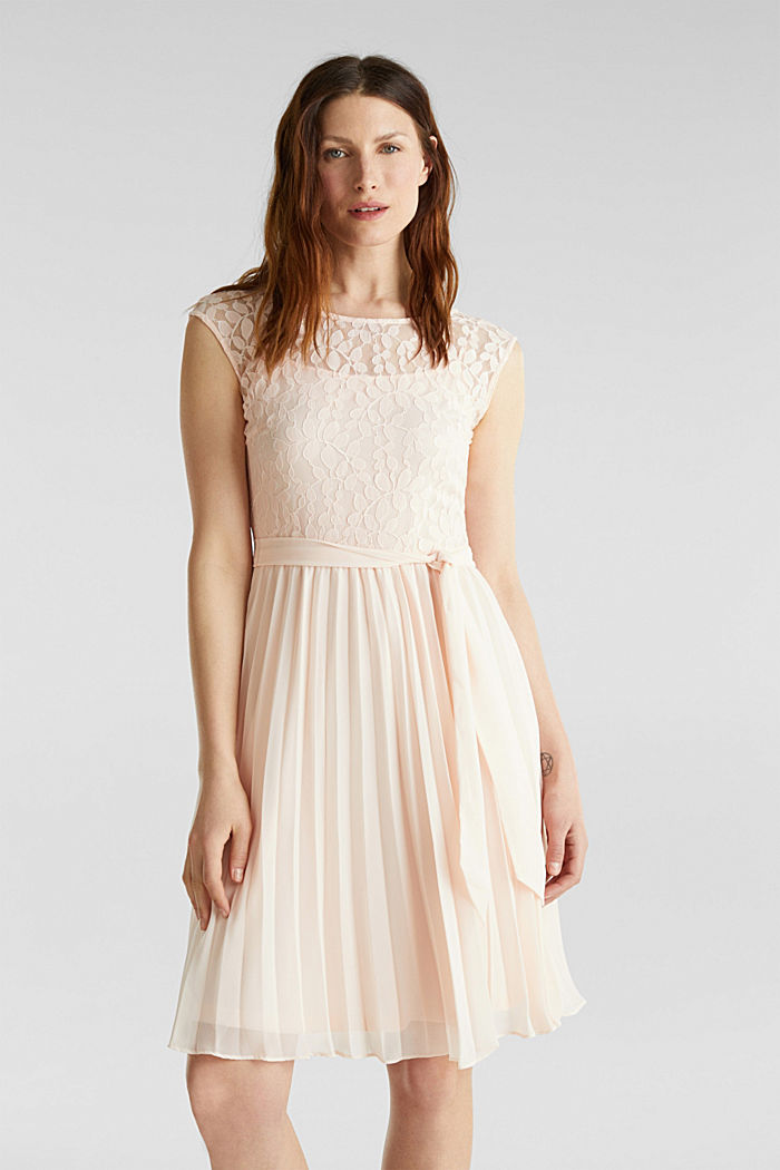 Recycled: pleated dress with lace