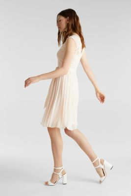 Recycled: pleated dress with lace, PASTEL PINK, detail