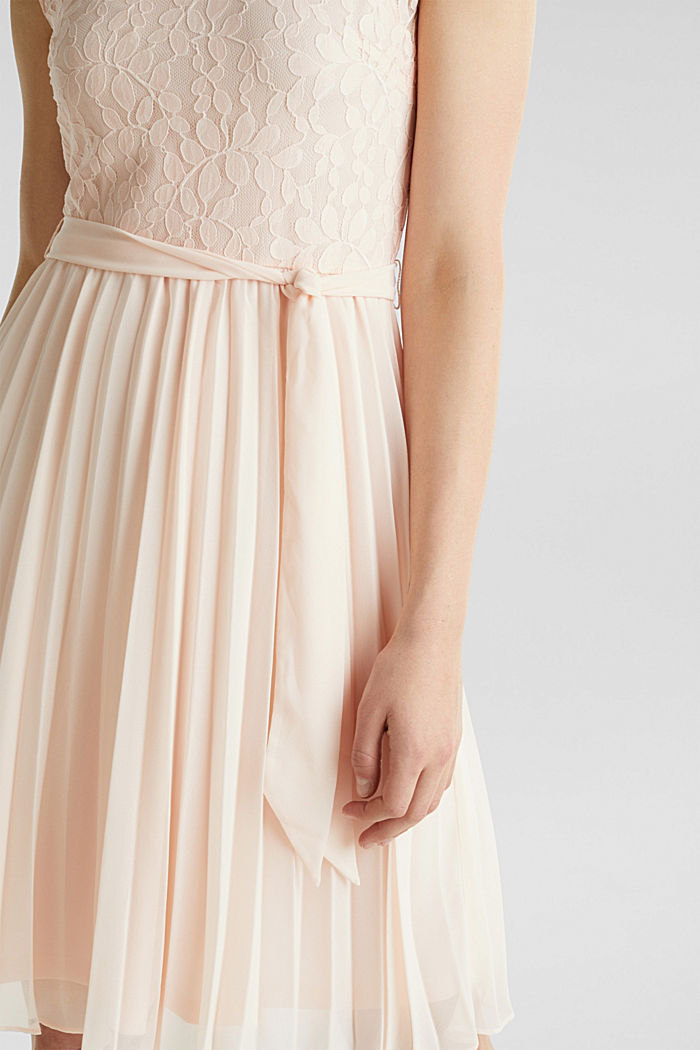Recycled: pleated dress with lace, PASTEL PINK, detail image number 3